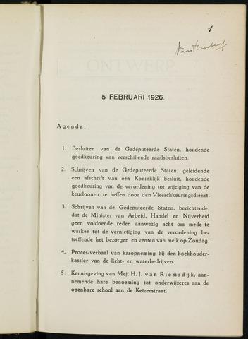 Breda - Notulen van de gemeenteraad 1926