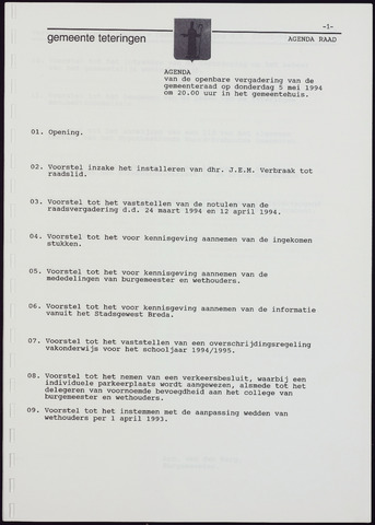 Teteringen - Notulen en bijlagen van de gemeenteraad 1994-05-05