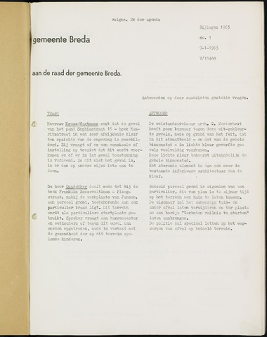 Breda - Bijlagen bij de notulen van de gemeenteraad 1963