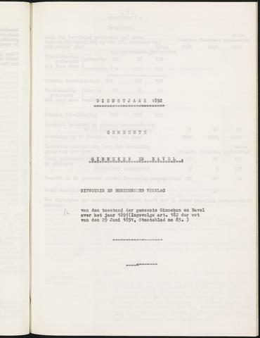 Ginneken en Bavel - Verslagen van de toestand van de gemeente 1892
