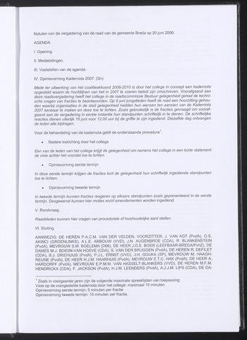 Breda - Notulen van de gemeenteraad 2006-06-20