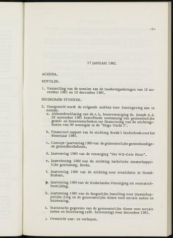 Breda - Notulen van de gemeenteraad 1962