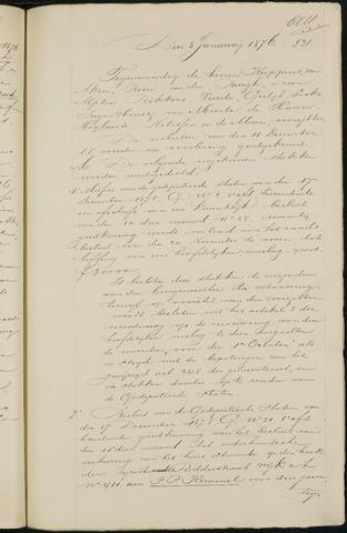 Breda - Notulen van de gemeenteraad 1876-01-01