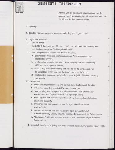 Teteringen - Notulen en bijlagen van de gemeenteraad 1980-08-28