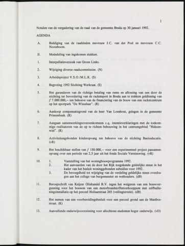 Breda - Notulen van de gemeenteraad 1992-01-01