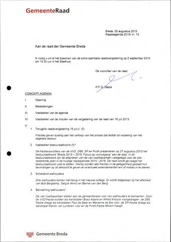 Breda - Bijlagen bij de notulen van de gemeenteraad 2015-09-02