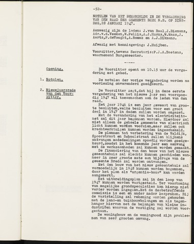 Prinsenbeek - Notulen van de gemeenteraad 1947