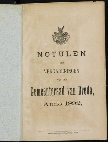 Breda - Notulen van de gemeenteraad 1892