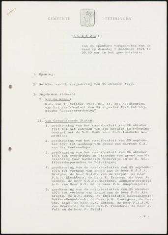 Teteringen - Notulen en bijlagen van de gemeenteraad 1971-12-07