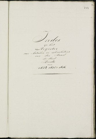 Breda - Indexen op de notulen van de gemeenteraad 1834-01-01