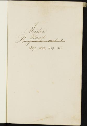 Breda - Indexen op de notulen van de gemeenteraad 1857-01-01