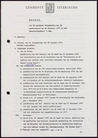 Teteringen - Notulen en bijlagen van de gemeenteraad 1977-02-24