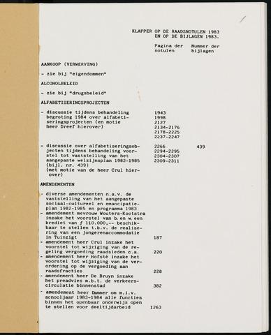Breda - Indexen op de notulen van de gemeenteraad 1983-01-01