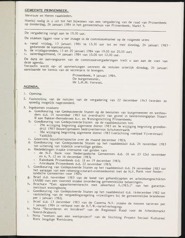 Prinsenbeek - Notulen van de gemeenteraad 1984