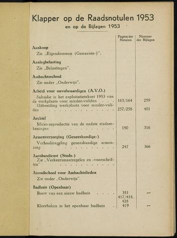 Breda - Indexen op de notulen van de gemeenteraad 1953