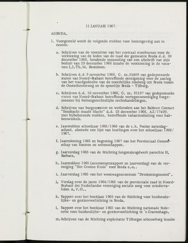 Breda - Notulen van de gemeenteraad 1967-01-01