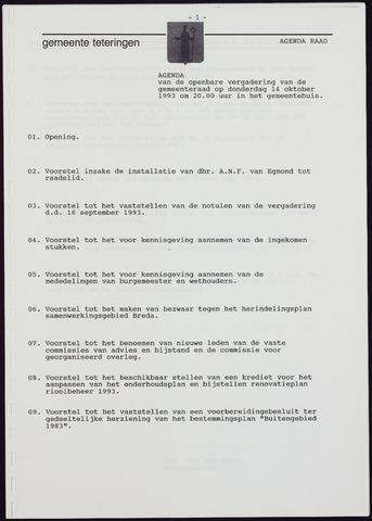 Teteringen - Notulen en bijlagen van de gemeenteraad 1993-10-14