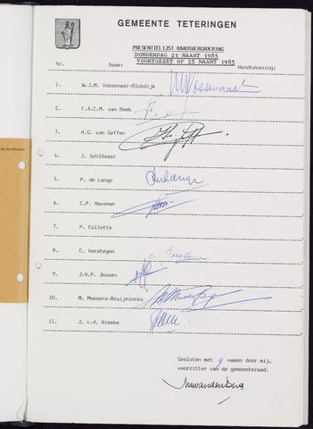Teteringen - Notulen en bijlagen van de gemeenteraad 1985-03-21