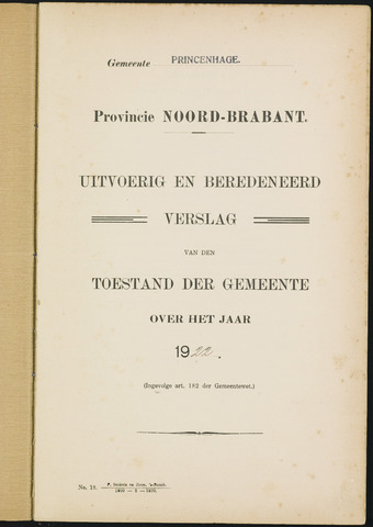 Princenhage - Verslagen van de toestand van de gemeente 1922