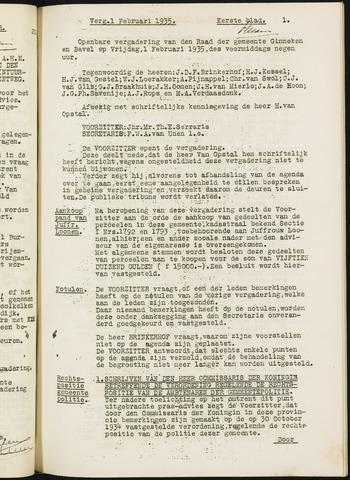 Ginneken en Bavel - Notulen van de gemeenteraad 1935-01-01