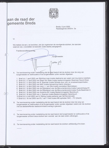 Breda - Bijlagen bij de notulen van de gemeenteraad 2003-06-05