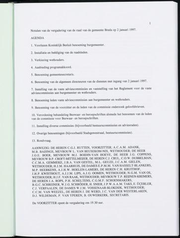 Breda - Notulen van de gemeenteraad 1997-01-01