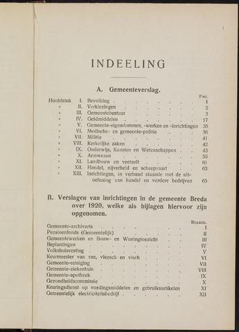 Breda - Verslagen van de toestand van de gemeente 1920