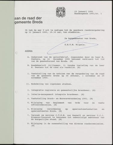 Breda - Bijlagen bij de notulen van de gemeenteraad 1991