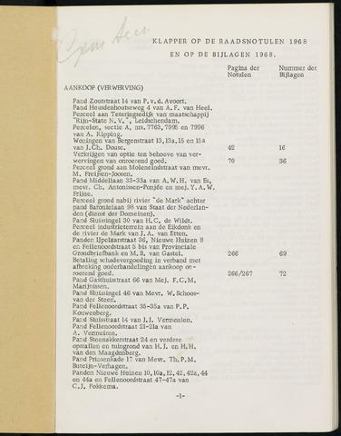 Breda - Indexen op de notulen van de gemeenteraad 1968-01-01