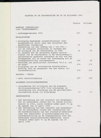 Breda - Indexen op de notulen van de gemeenteraad 1992