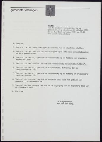 Teteringen - Notulen en bijlagen van de gemeenteraad 1991-11-05