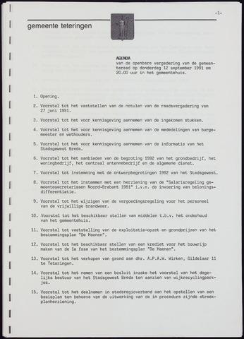Teteringen - Notulen en bijlagen van de gemeenteraad 1991-09-12