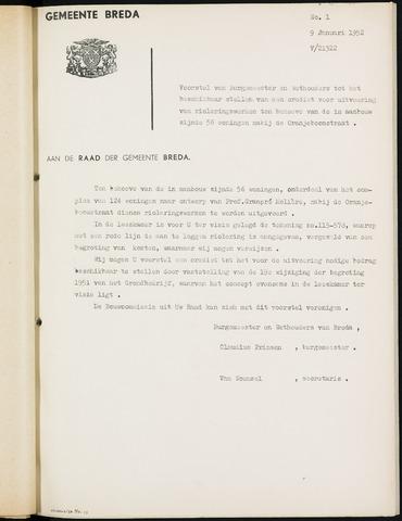 Breda - Bijlagen bij de notulen van de gemeenteraad 1952-01-01