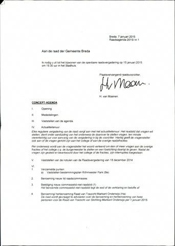 Breda - Bijlagen bij de notulen van de gemeenteraad 2015