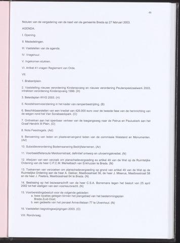 Breda - Notulen van de gemeenteraad 2003-02-27