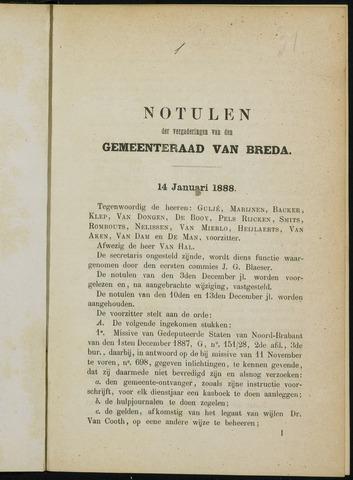 Breda - Notulen van de gemeenteraad 1888
