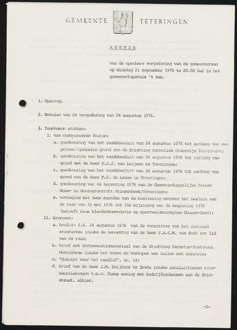 Teteringen - Notulen en bijlagen van de gemeenteraad 1976-09-21