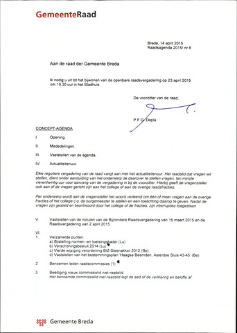 Breda - Bijlagen bij de notulen van de gemeenteraad 2015-04-23