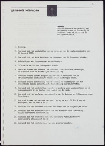 Teteringen - Notulen en bijlagen van de gemeenteraad 1991-02-28