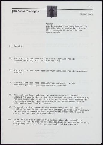 Teteringen - Notulen en bijlagen van de gemeenteraad 1996-03-28