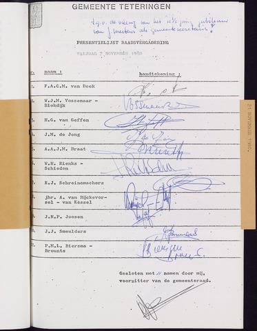Teteringen - Notulen en bijlagen van de gemeenteraad 1980-11-07