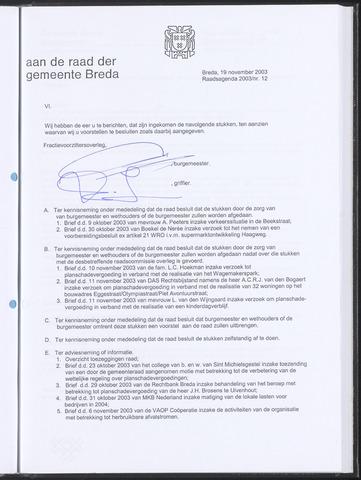 Breda - Bijlagen bij de notulen van de gemeenteraad 2003-11-20