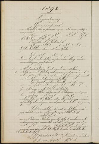 Teteringen - Notulen en bijlagen van de gemeenteraad 1892