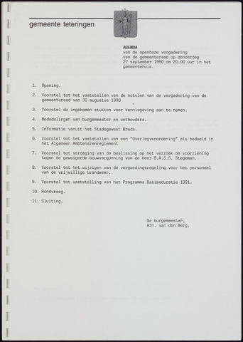 Teteringen - Notulen en bijlagen van de gemeenteraad 1990-09-27