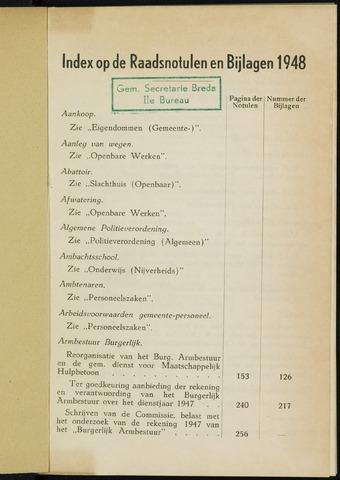 Breda - Indexen op de notulen van de gemeenteraad 1948-01-01