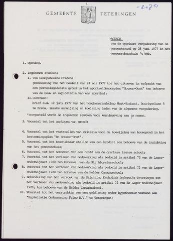 Teteringen - Notulen en bijlagen van de gemeenteraad 1977-06-28