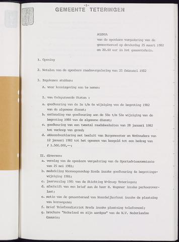 Teteringen - Notulen en bijlagen van de gemeenteraad 1982-03-25