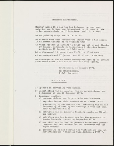 Prinsenbeek - Notulen van de gemeenteraad 1976