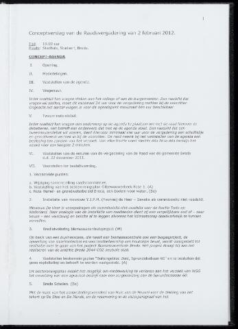 Breda - Notulen van de gemeenteraad 2012-02-02