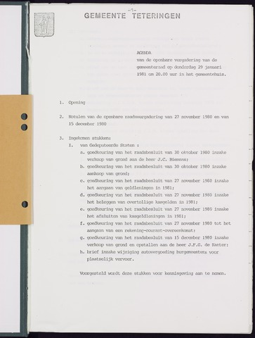 Teteringen - Notulen en bijlagen van de gemeenteraad 1981-01-29